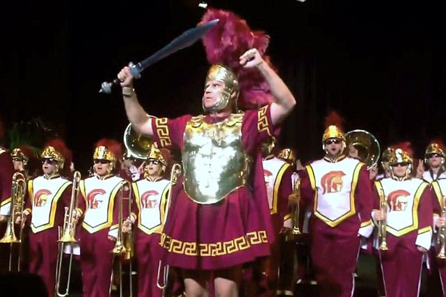 Ferrell leads the USC marching band, The Spirit of Troy.