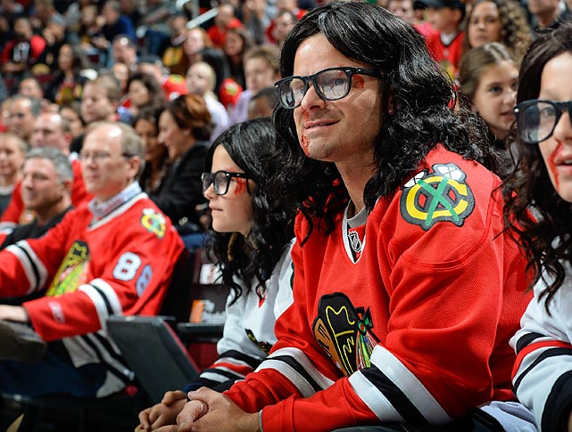 Decked out like a Hanson brother of <italics>Slap Shot </italics>not <italics>MMMBop</italics> fame, the <italics>Mind Games</italics> star took in a game between the Sabres and Blackhawks at the United Center in Chicago and eventually got carried away.