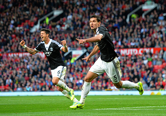 Dejan Lovren (right) and Jose Fonte celebrated after Southampton scored against Manchester United.