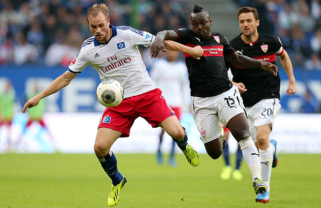 Maximilian Beister (left) scored for Hamburg in their 3-3 draw with Stuttgart.