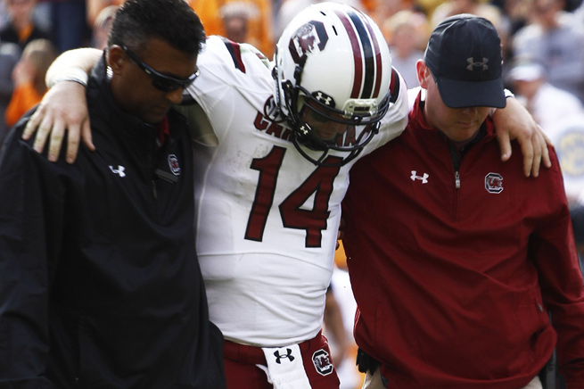 Quarterback Connor Shaw sprained his left knee in South Carolina's loss to Tennessee.
