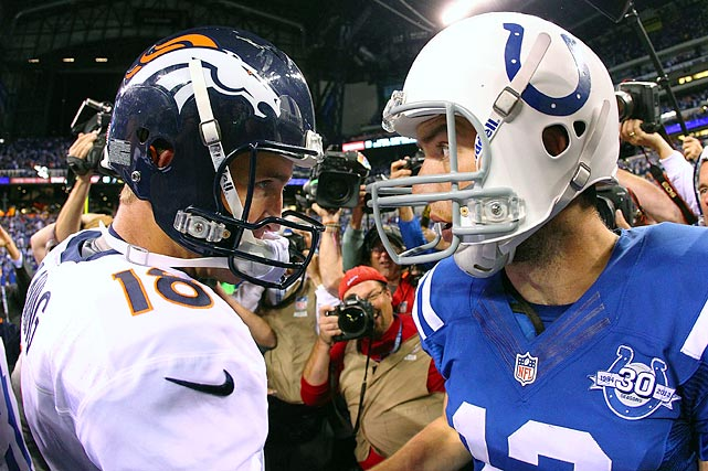 "It was just Peyton Manning 's luck. On his first trip back to Lucas Oil Stadium, he and his teammates had an off night. His successor and his old team, they got it right. Andrew Luck threw three touchdown passes and ran for another score Sunday night, handing Denver a 39-33 loss - its first of the season - without even needing one of Luck's trademark fourth-quarter comebacks. Manning lost a fumble, threw an interception and was sacked four times - twice by Robert Mathis , one of the few remaining holdovers from the Manning era. While Manning finished with solid numbers, 29 of 49 for 386 yards with three TD passes, he certainly wasn't himself. Passes fluttered, passes sailed, passes were broken up. When Manning first ran onto the field, some sections in the lower bowl looked like a checkerboard of Colts blue and Broncos orange. They roared for No. 18 throughout a 90-second video tribute featuring some of his most memorable moments with the Colts including the record-breaking pass to Marvin Harrison for most TDs by a quarterback-receiver duo, the AFC championship comeback against New England and, of course, the evening when he finally hoisted the Lombardi Trophy in rainy Miami. Manning responded to the standing ovation by stopping his warm-up throws, taking off his helmet, waving to the fans and mouthing the words "" Thank you."""