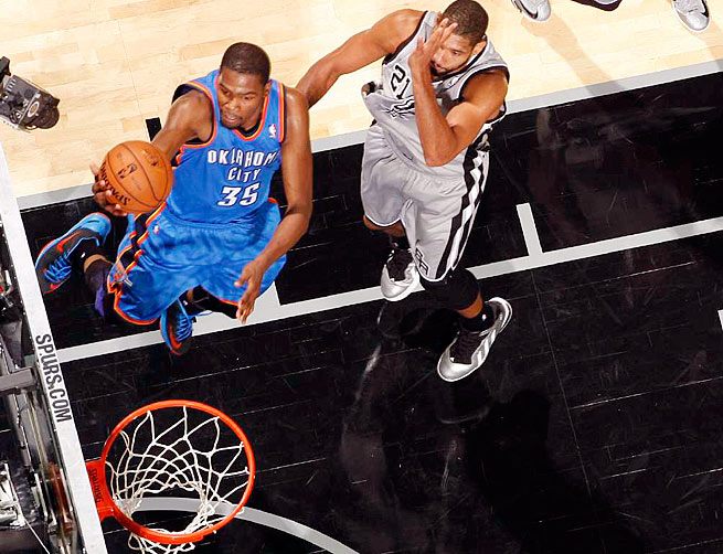 Thunder forward Kevin Durant has led the NBA in scoring in three of the last four seasons.