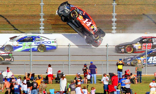 Sprint Cup Series driver Austin Dillon goes airborne on the backstretch on the final lap at Talladega Superspeedway. Dillon finished 26th, and Jamie McMurray took advantage of the late crash to win.