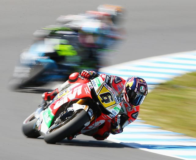 Germany's Stefan Bradl leans into a turn during MotoGP free practice at the Phillip Island Grand Prix Circuit.