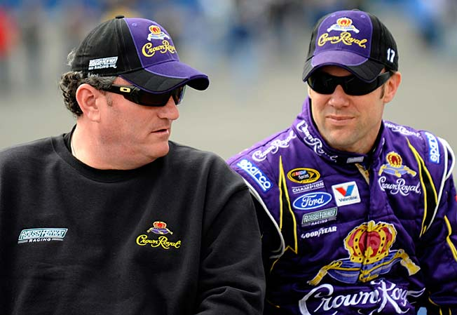Todd Parrott (left, with Matt Kenseth in 2010) was Aric Almirola's crew chief for the last year.
