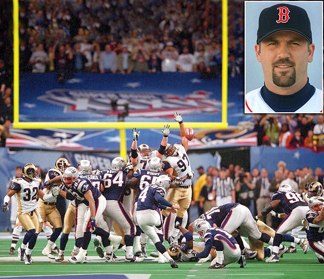 "When Menino began talking about great moments in Boston sports history during Orr's ceremony, at one point he said it was Red Sox catcher Jason Varitek (inset) who ""split the uprights"" to help the New England Patriots win their first Super Bowl in 2002, when in fact he meant to say it was then-Patriots kicker Adam Vinatieri."