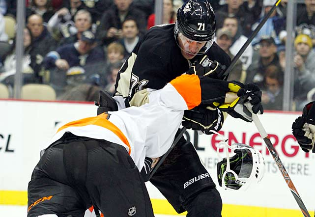 When you face the kind of ferocious checking that Malkin deals with every night, you're bound to succumb to frustration every now and then. Usually, Geno makes use of his size and strength to discourage the attention, but he's an artist with his stick, too, as the Flyers' Sean Couturier can attest.