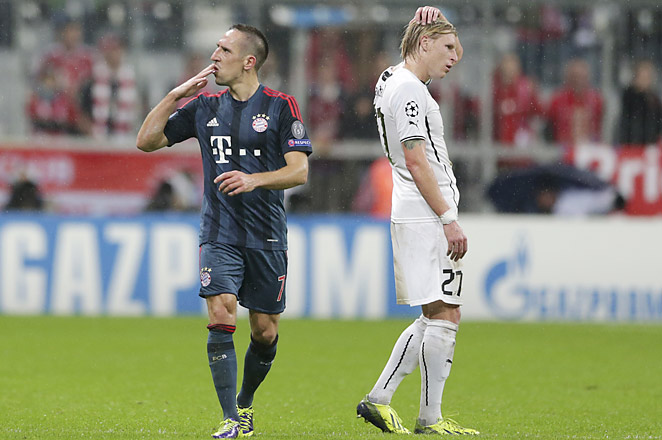 Franck Ribery scored twice for Bayern as the German side moved closer to the knockout stage.