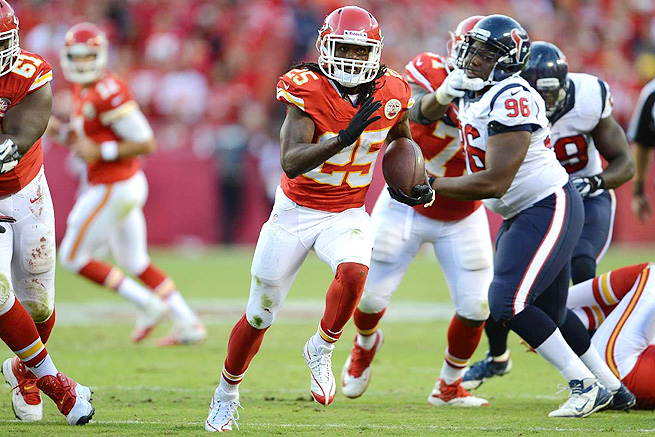 Jamaal Charles and the Chiefs will attempt to keep their unbeaten streak alive against the Browns.