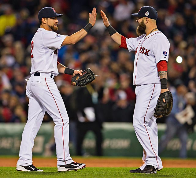 Jacoby Ellsbury and Mike Napoli celebrate after Game 1.