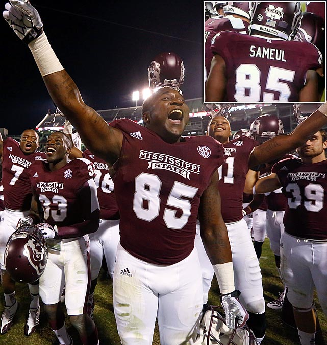 Mississippi State tight end Artimas Samuel celebrated his teams' 28-22 win over Kentucky after his first college game Thursday night (Oct. 24, 2013), but the 6'2, 260-pound freshman could not have been too pleased with his last name being misspelled as 'Sameul' on his jersey for the nationally televised game. <italics>SI.com takes a look at the many other notable misspellings on sports jerseys through the years. </italics>