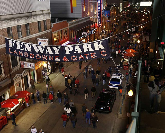 Fans leave Fenway after Game 2.