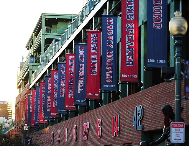 Seven Red Sox players and Jackie Robinson have had their numbers retired outside the stadium.