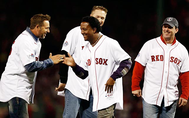 Kevin Millar, Pedro Martinez, Mike Timlin and Trot Nixon were members of the 2004 World Series-winning team honored before Game 2.