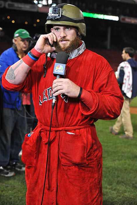In other fashion developments, the hirsute Red Sox outfielder discussed the latest in casual evening wear at Fenway Park in Boston.