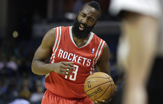 James Harden was forced to leave the Rockets' final preseason game after suffering a knee contusion.