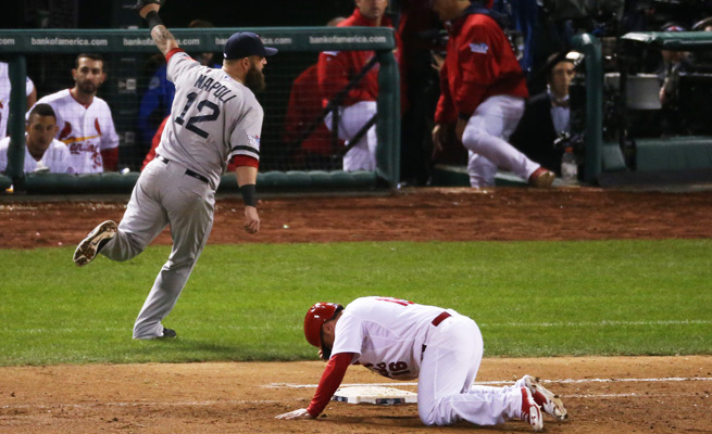 Kolten Wong's slip-up at first base provided the Red Sox with Game 4's final out.