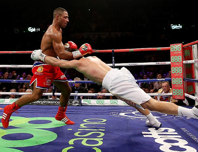 Kell Brook knocks out Vyacheslav Senchenko during their Final Eliminator for the IBF World Welterweight Championship bout.