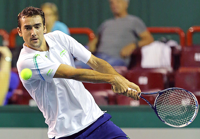 In his first match back from a doping ban, Marin Cilic rallied from a set down to beat Igor Sijsling.