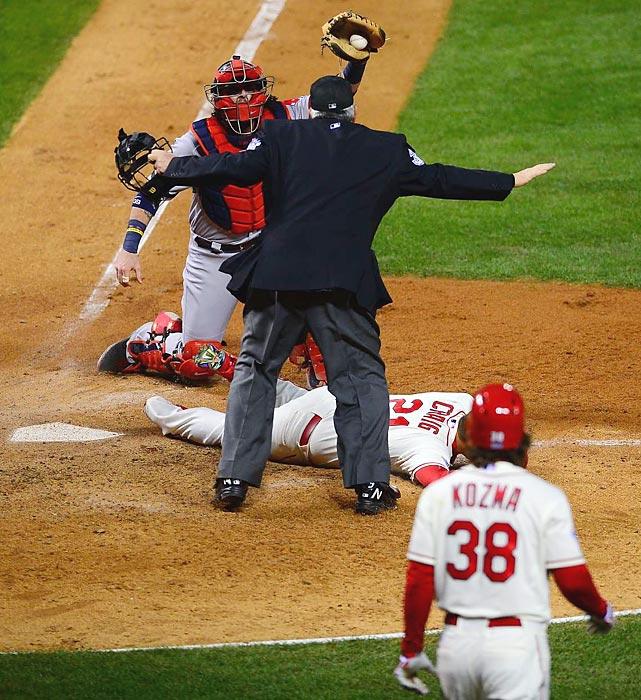 Red Sox catcher Jarrod Saltalamacchia pleads his case.