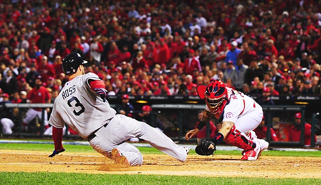 David Ross is thrown out at home in the seventh inning of Game 5.