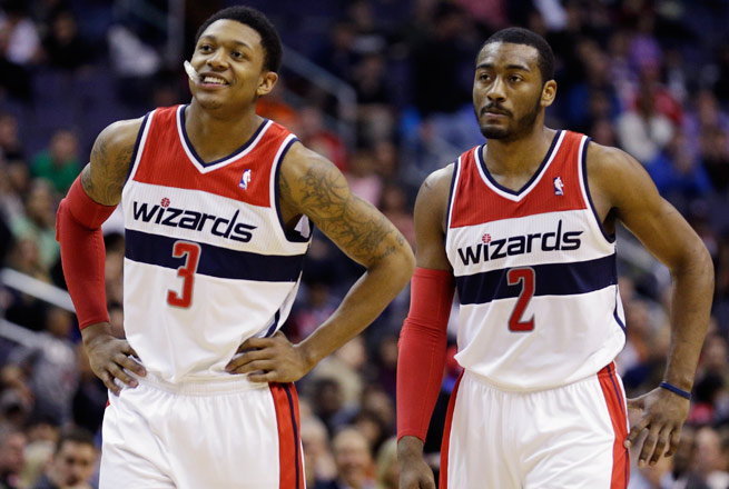 The Wizards went 16-9 when Bradley Beal (left) and John Wall played together last season.