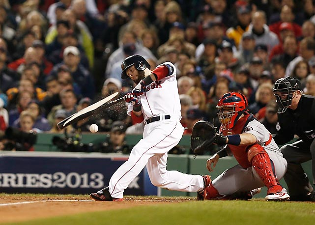 Dustin Pedroia breaks his bat.