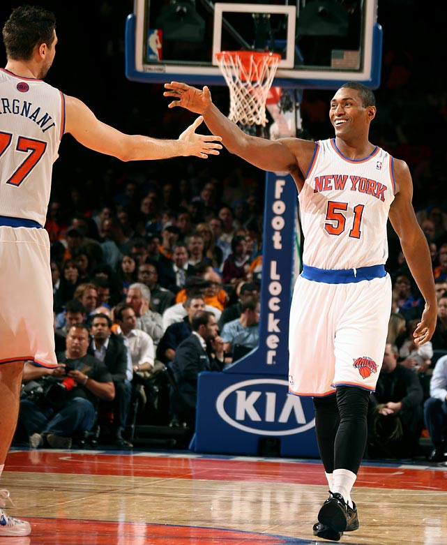 "Let's put it this way: When you think about J.R. Smith and Metta World Peace, is ""contenders"" the first thing that comes to mind? Andrea Bargnani, who struggled in Toronto, now faces the task of resurrecting his career in the bright lights of New York. If the Knicks somehow do make the Finals, we predict that Carmelo Anthony will become the first Finals MVP to lose since Jerry West."