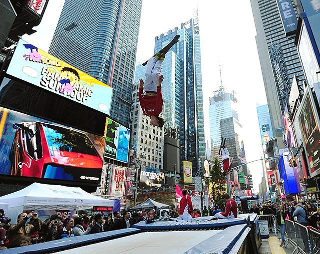 The freestyle aerialist flipped out in New York's famed Times Square in an attempt to drum up interest in the 2014 Sochi Winter Games.