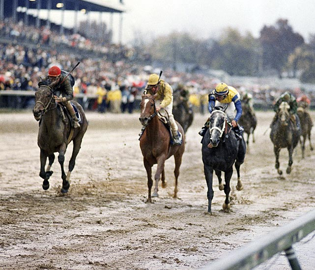 The bay filly came into the race undefeated in 12 career starts, but looked beaten midway through the race over the muddy Churchill Downs track. Winning Colors, just as she had in winning the Kentucky Derby in May, had gotten loose on the lead, and Personal Ensign (far left) trailed by nine lengths as the field ran down the backstretch. But she mounted a furious charge in the homestretch to catch Winning Colors (near left) at the wire. Personal Ensign won by a nose and capped off her perfect 13-race career.