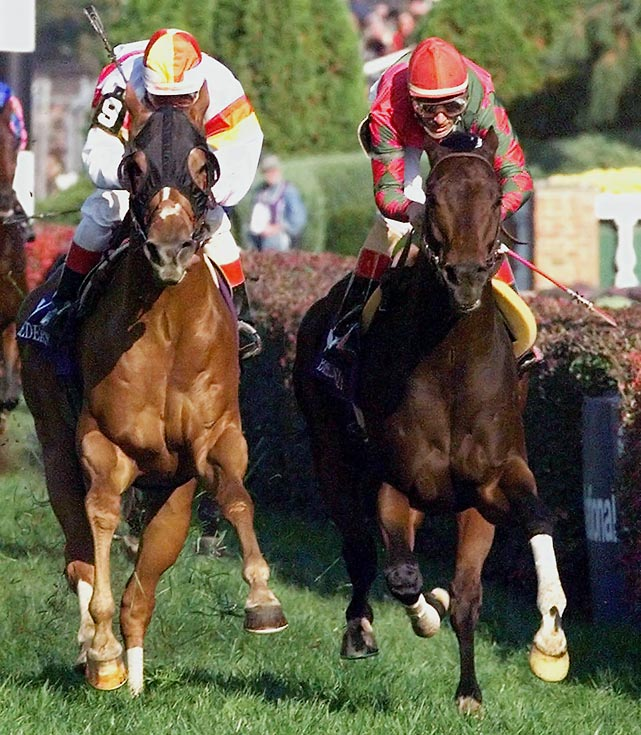 After the bay gelding won the Mile in 1996, eccentric trainer Michael Dickinson shut him down for nearly two years due to hoof and ankle injuries. Dickinson ran Da Hoss only once in advance of the '98 Mile?he won a 1 1/8-mile allowance race at Colonial Downs in New Kent, Va., on Oct. 11. At Churchill Downs on Nov. 7, Da Hoss was overtaken in deep stretch by Irish champion Hawksley Hill (far left), but came back on the rail to win by a nose at odds of 11-1.