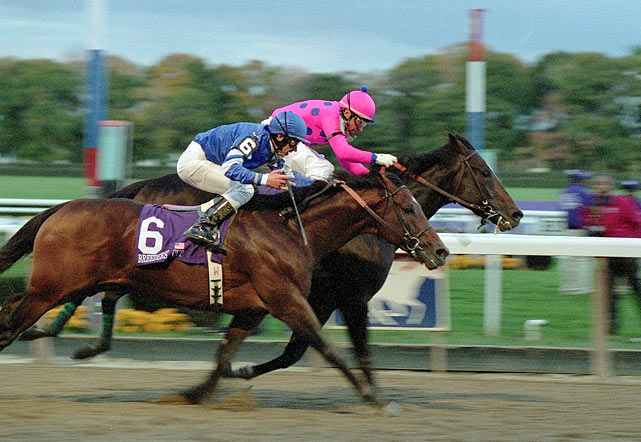 As a 3-year-old, the big chestnut colt beat European superstar Giant's Causeway by a neck to win the 2000 Classic at Churchill Downs. One year later, Tiznow (pink silks) got up late to edge out European invader Sakhee (6) -- winner of the Prix de l'Arc de Triomphe ? by a nose to become the first two-time Classic winner in Breeders' Cup history.
