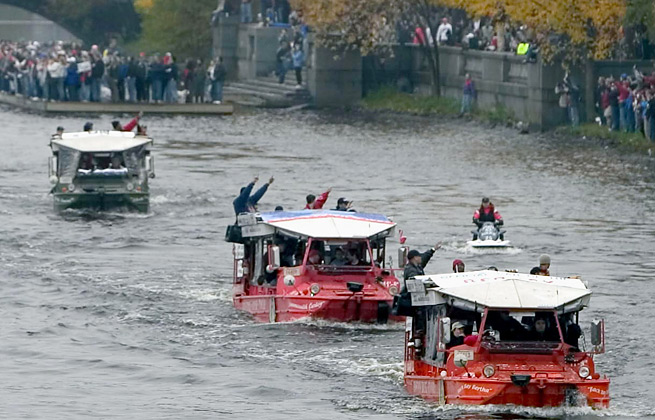 The Boston Red Sox celebrated their World Series win with a rally held on the city's duck boats.