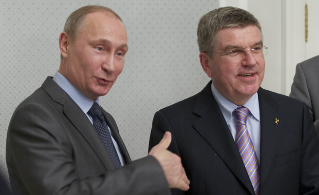 Russian President Vladamir Putin (left) met with new IOC President Thomas Bach during his first trip to Sochi.