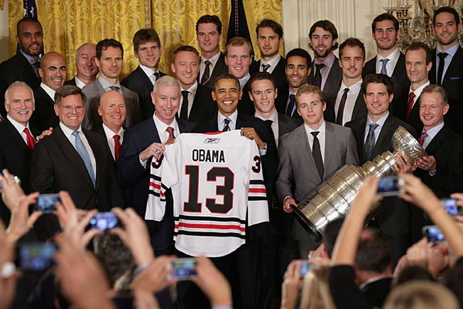 The Blackhawks have given President Obama two Cups of reasons to smile since he took office.