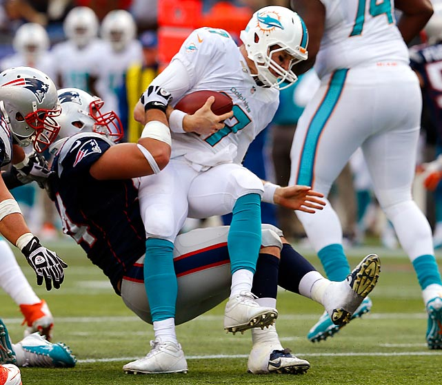 The Dolphins have enough friskiness to sneak into the playoffs, but it's hard to make any noise when you lead the league in sacks allowed. Despite already having a bye, opposing defenses have sacked Ryan Tannehill 35 times. That's not part of the formula for postseason success. Losing bullying guard Richie Incognito won't help on that front either. <italics>All stats through Nov. 5</italics>