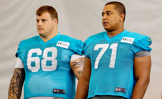 "NFL personnel don't defend Richie Incognito (68), but some think Jonathan Martin ""told like a kid."""