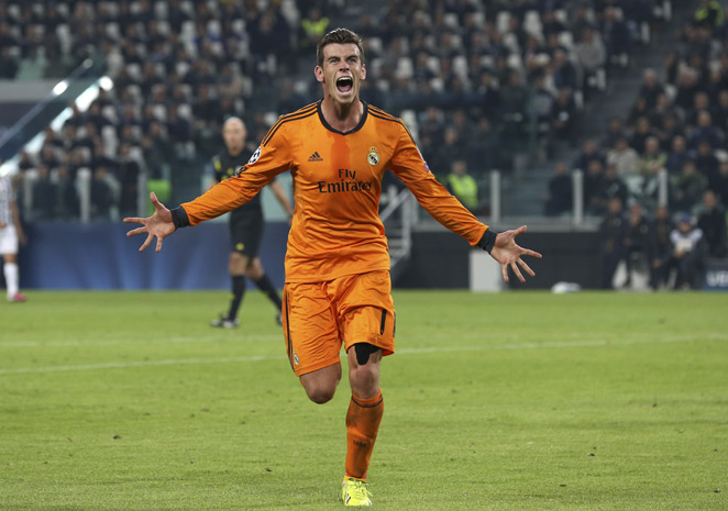 Real Madrid's Gareth Bale celebrates after scoring in his side's 2-2 Champions League draw with Juventus in Turin, Italy.