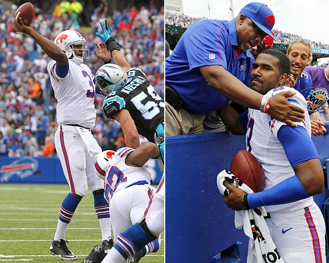 With 1:38 remaining in the game, Bills rookie quarterback EJ Manuel flashed some of the potential Buffalo saw when it made him the 16th pick in the 2013 draft. Needing a touchdown to win the game, Manuel led Buffalo downfield with no timeouts and threw the game-winning score to Stevie Johnson with just two seconds on the clock. The nine-play, 80-yard drive capped Manuel's best game as a pro to date; he completed 69 percent of his passes for 296 yards and a TD on the day.