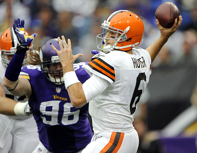When the Browns traded away star running back Trent Richardson, it appeared that the franchise was tanking to get a better pick in the quarterback-rich 2014 draft. What was not clear, at least initially, was the team's actual plan: unleash Hoyer the Destroyer and watch him take down any football team in his path. The Vikings game was journeyman quarterback Brian Hoyer's first start of the season, and just the second of his career. Hoyer delivered, with 321 yards plus three TDs (and three interceptions). Hoyermania was short-lived as the newfound star only played one more full game (a win over the Bengals) before suffering a season-ending ACL tear in Week 5.