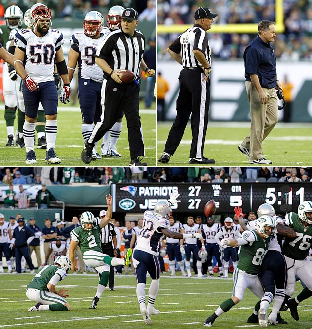 Better known as the game that introduced NFL fans everywhere to Rule 913. With the score tied 27-27 in overtime, Jets kicker Nick Folk missed a 56-yard field goal, giving the Patriots new life. But referees flagged New England defensive tackle Chris Jones for pushing a teammate into the offensive formation -- a 15-yard penalty. It was the first time the penalty had been called in a game, and Patriots coach Bill Belichick was incensed. But the call stood, and the Jets went on to kick the game-winning field goal, continuing their surprising season and moving to 4-3.