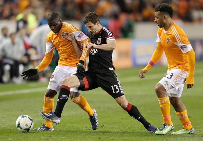 D.C. United attacker Chris Pontius (center) underwent surgery Wednesday and will be out up to eight weeks.
