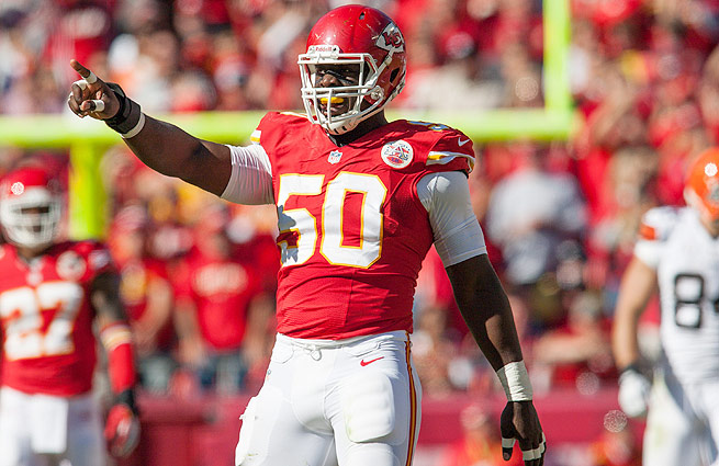 Justin Houston has 11 of the Chiefs' league-leading 36 sacks this season.