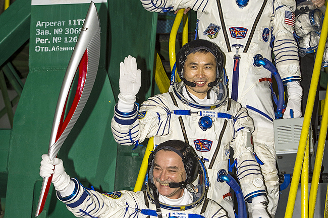 The torch made its way to the International Space Station and will be taken into space itself Saturday.