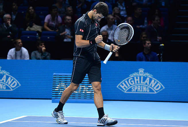 Novak Djokovic won his second match at the ATP Finals to lock up his spot in the semifinals.