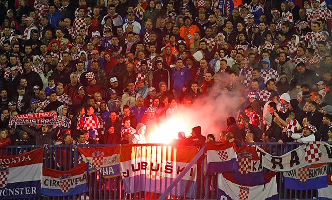 Croatia fans, pictured during a World Cup Qualifier against Serbia in March, were accused of using far-right salutes against Belgium.
