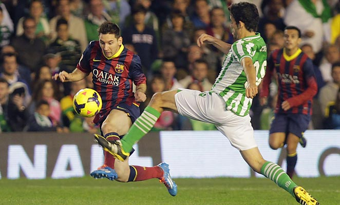 Lionel Messi was substituted in the 21st minute after aggravating an injury against Real Betis.