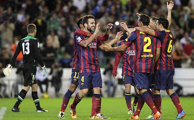 Cesc Fabregas scored for Barcelona as they rolled past Betis on Saturday.