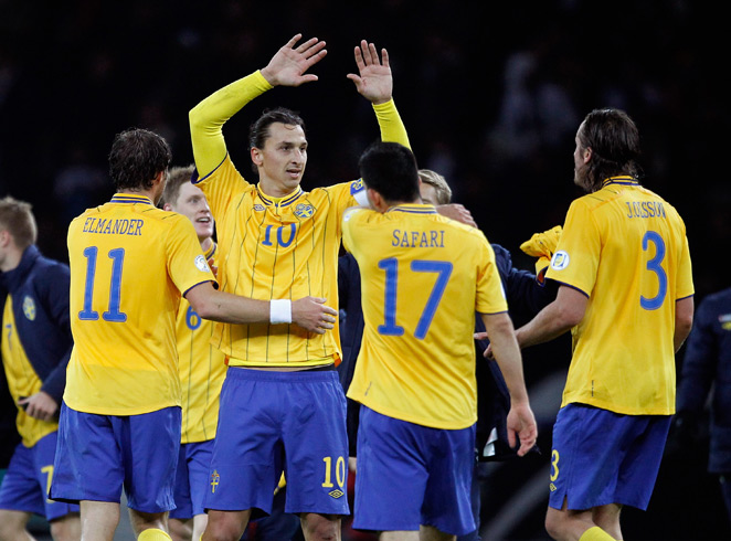 Sweden star Zlatan Ibrahimovic (10) is being honored with his own postal stamp in his native country.